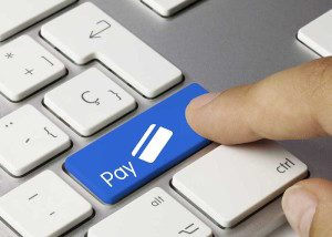 Pay credit card keyboard. Finger